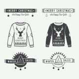 Joyeux Noël de vintage ou logo de ventes d'hiver, emblème, insigne Photo stock