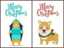Joyeux Noël deux affiches lumineuses de félicitation illustration stock