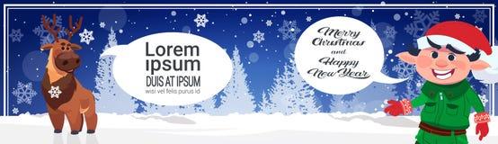 Joyeux Noël et affiche horizontale de bonne année avec des caractères de vacances dans la forêt d'hiver Photo stock