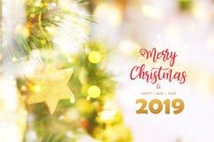 Joyeux Noël et bonne année, 2019 images stock
