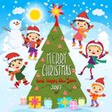 Joyeux Noël et bonne année 2017 Amusement de l'hiver Enfants gais jouant dans la neige Illustration courante de vecteur d'un grou illustration de vecteur