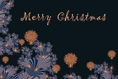 Joyeux Noël et bonne année avec l'embellissement de fractale, W illustration stock