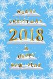 Joyeux Noël et bonne année 2018 avec le calibre de flocons de neige Éléments de conception de Noël de vecteur et de nouvelle anné Images stock
