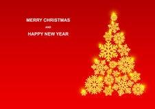 Joyeux Noël et bonne année Beaux flocons de neige d'or avec le scintillement illustration stock