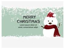 Joyeux Noël et bonne année, bonhomme de neige, décoration de carte de voeux, carte d'invitation pendant des vacances, cannette de Illustration de Vecteur