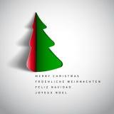 Joyeux Noël et bonne année, conception de papier c de salutation d'arbre illustration stock