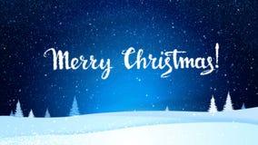 Joyeux Noël et bonne année des flocons de neige blancs sur un paysage bleu de nuit Fond animé d'hiver de vacances illustration libre de droits