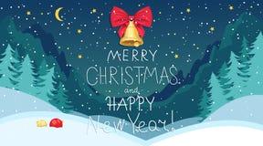 Joyeux Noël et bonne année Forêt de Milou illustration de vecteur