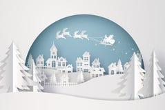 Joyeux Noël et bonne année Illustration de Santa Claus sur le ciel venant à la ville illustration libre de droits