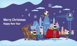 Joyeux Noël et bonne année Les aides d'elfes rassemblent des cadeaux dans le sac de Santa Claus, traîneau avec les cerfs communs  illustration stock