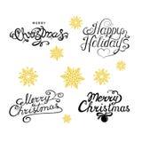 Joyeux Noël et inscription heureuse de main de holydays illustration stock