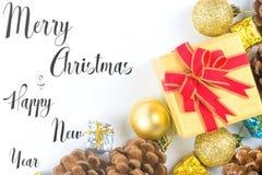 Joyeux Noël et nouvelle année typographiques sur le fond blanc W photo stock