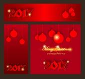 Joyeux Noël et nouvelle collection heureuse de 2017 célébrations d'an Photos stock