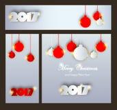 Joyeux Noël et nouvelle collection heureuse de 2017 célébrations d'an Photographie stock libre de droits