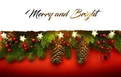 Joyeux Noël ; Fond de vacances avec la décoration d'arbre de Noël photographie stock