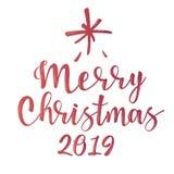 Joyeux Noël - inscription de lettrage à la conception de vacances d'hiver image stock