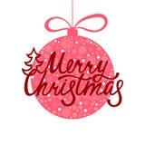 Joyeux Noël Inscription tirée par la main pour la carte de voeux ou l'invitation illustration de vecteur