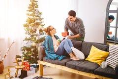 Joyeux Noël Jeunes couples célébrant Noël à la maison Photographie stock libre de droits