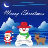 Joyeux Noël - le bonhomme de neige est lié par des lumières de Noël Photo libre de droits