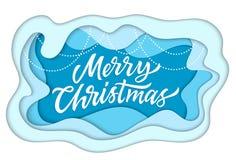 Joyeux Noël - le papier moderne de vecteur a coupé l'illustration illustration stock