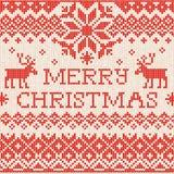 Joyeux Noël : Le style scandinave ou russe tricoté brodent Photos stock