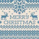 Joyeux Noël : Le style scandinave ou russe tricoté brodent Photographie stock libre de droits