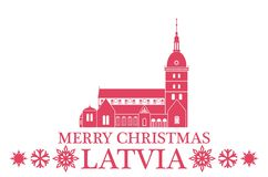 Joyeux Noël Lettonie illustration stock