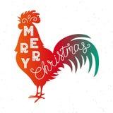 Joyeux Noël 2017 Lettrage de main de silhouette Symbole chinois de calendrier de 2017 ans Coq rouge, coq Conception de vacances illustration stock
