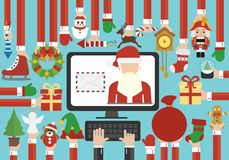 Joyeux Noël, lettre de envoi en ligne plate de conception moderne de bonne année avec Santa Claus illustration stock