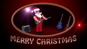 Joyeux Noël Mauvaise Santa Claus sur un aerosleigh monte avec des cadeaux illustration de vecteur
