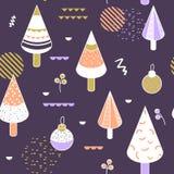 Joyeux Noël Memphis Geometric Seamless Pattern Fond de vacances d'hiver composition en style de 80s 90s pour le textile Image stock