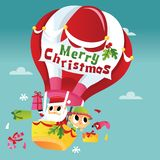 Joyeux Noël mignon superbe Santa Hot Air Balloon illustration stock