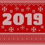 Joyeux Noël, modèle tricoté sans couture de nouvelle année avec le numéro 2019 Conception de tricotage de chandail Texture tricot illustration de vecteur