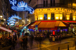 Joyeux Noël from Paris. View of a bustling street near Chatelet Royalty Free Stock Photo