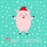 Joyeux Noël Porcelet de porc Caractère drôle de bébé de bande dessinée mignonne Les porcs de porc sèment l'animal Santa Hat Symbo illustration libre de droits
