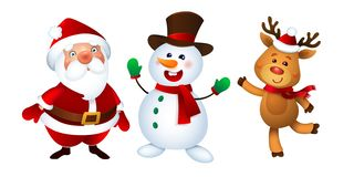 Joyeux Noël Santa Claus, bonhomme de neige et renne Ensemble heureux de mascottes de vacances illustration stock