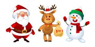 Joyeux Noël Santa Claus, bonhomme de neige et renne Ensemble heureux de mascottes de vacances illustration libre de droits