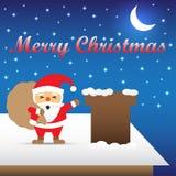 Joyeux Noël - Santa Claus Carrying Gift Bag On un toit Images stock