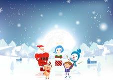 Joyeux Noël, Santa Claus, enfant, renne, bonhomme de neige et ange W illustration de vecteur