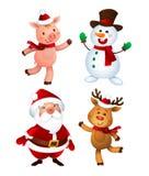 Joyeux Noël Santa Claus, porc, bonhomme de neige et renne Ensemble heureux de mascottes de vacances illustration stock
