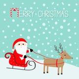 Joyeux Noël Santa Claus Sleigh Deer avec des klaxons, chapeau rouge, écharpe Canne de sucrerie Tête mignonne de reindeeer de band Image stock