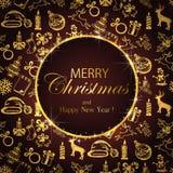 Joyeux Noël sur le fond avec la décoration d'or illustration de vecteur