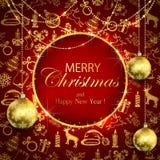 Joyeux Noël sur le fond rouge avec la décoration et le bau d'or illustration stock
