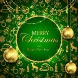 Joyeux Noël sur le fond vert avec la décoration d'or et le b illustration stock