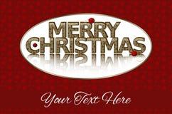 Joyeux Noël, texte d'or, ornements rouges Images libres de droits