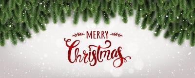Joyeux Noël typographique sur le fond blanc avec des branches d'arbre décorées des étoiles, lumières, flocons de neige illustration libre de droits