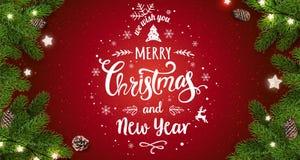 Joyeux Noël typographique sur le fond rouge avec des branches d'arbre, baies, boîte-cadeau, étoiles, cônes de pin Noël et nouvell illustration libre de droits