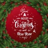 Joyeux Noël typographique sur le fond rouge avec la guirlande de Noël des branches d'arbre, baies, lumières, flocons de neige illustration stock