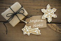 Joyeux No�l on a Banner with Christmas Decoration Royalty Free Stock Photography