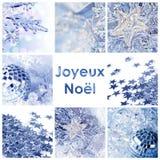 Joyeux Noel en de blauwe kaart van Kerstmisornamenten Stock Foto